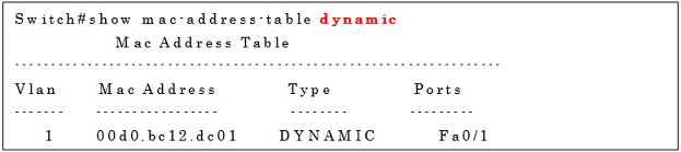 show mac-address-table dynamicコマンドの実行例