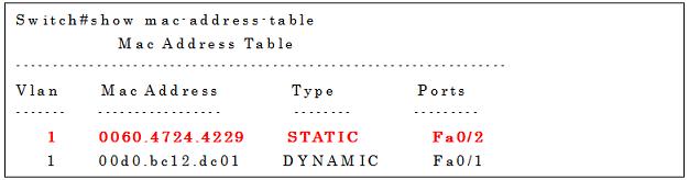 show mac-address-tableコマンドの実行例