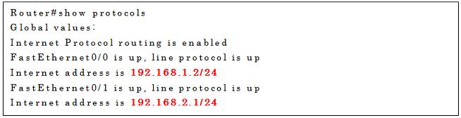 show protocolsコマンドの実行例