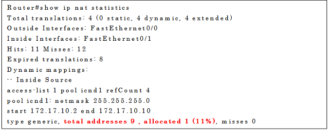 show ip nat statisticsの実行例