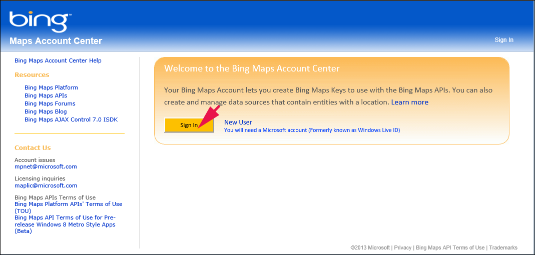 Windows Live ID でBing Maps Account Centerにサインインする