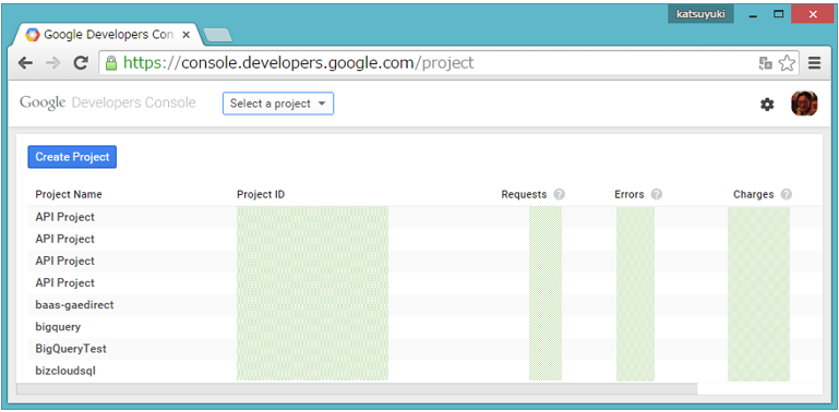 Google Developer ConsoleのProjects画面