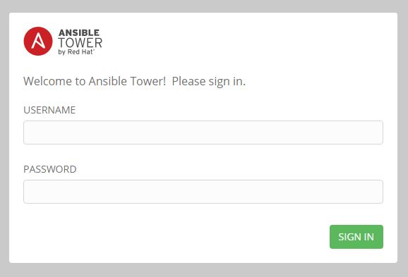 Ansible Towerのログイン画面