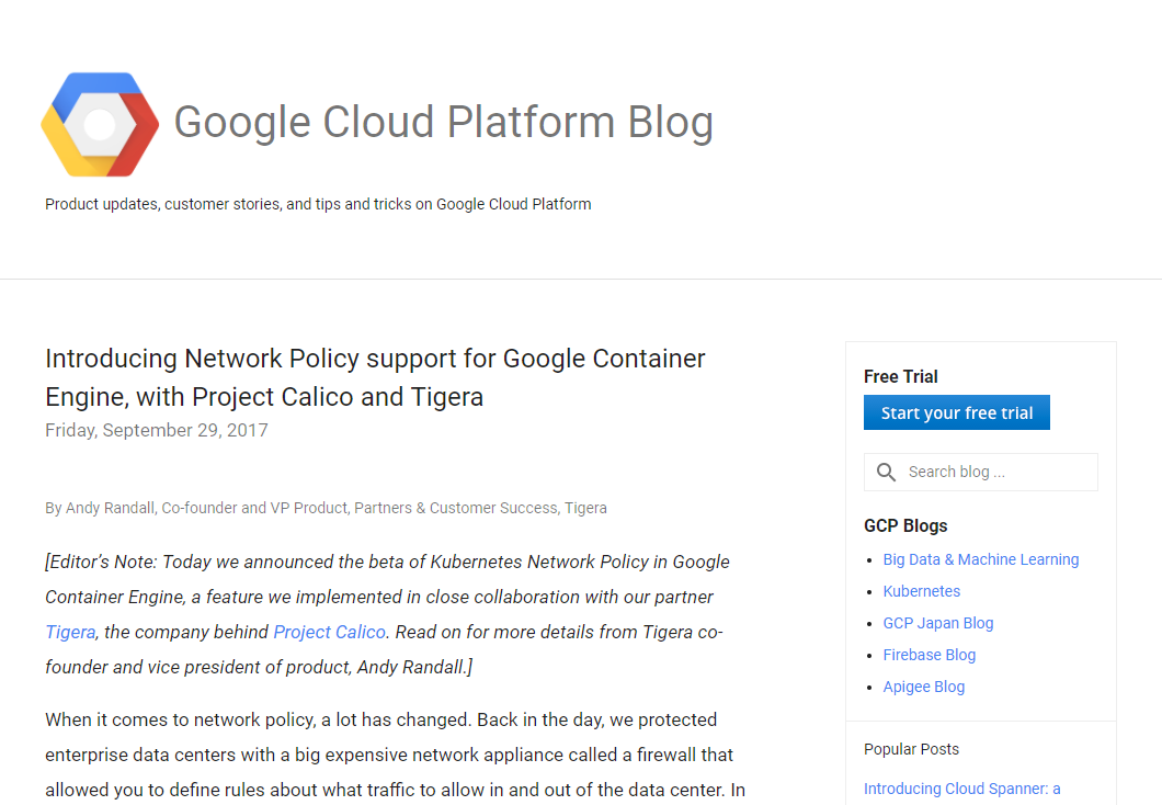 Introducing Network Policy support for Google Container Engine, with Project Calico and Tigera」より