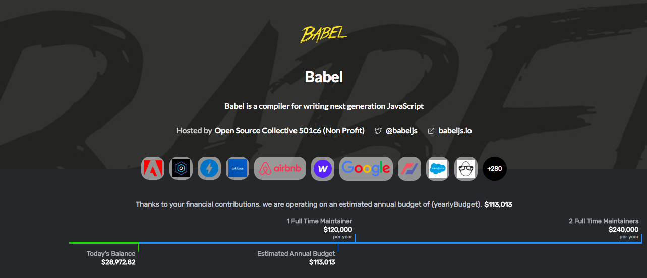 OpenCollectiveのBabelのページ