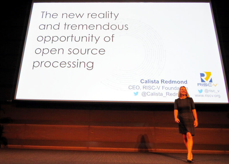 登壇するRISC-V FoundationのCEO、Calista Redmond氏