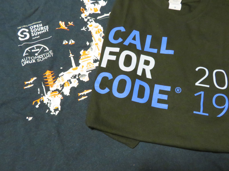 IBMが推進するCall for Code2019とOpen Source Summit 2019 JapanのTシャツ