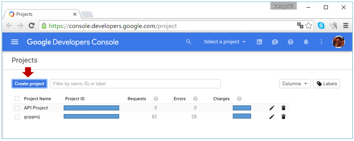 Google Developers ConsoleのProjects画面