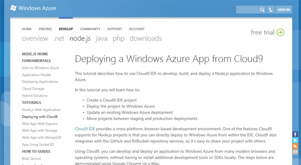 Deploying a Windows Azure App from Cloud9(英語)